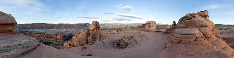 2013-04 Arches National Park, Delicate Arch Sunrise  Panorama from the east side of the bowl at Delicate Arch. This area fills up for sunset, but I was alone for sunrise.