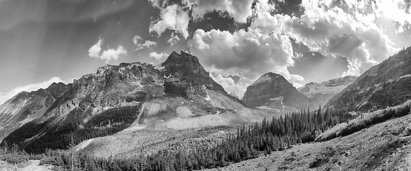 2014-07 Plain of Six Glaciers, Lake Louise, CA B&W Panorama from the trail